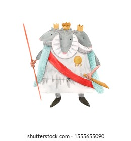Isolated watercolor illustration. The Mouse King with Three Heads from the Nutcracker Tale