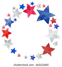 Isolated watercolor illustration of white, blue and red stars set decoration circle frame for Independence day, July 4th holiday celebration
