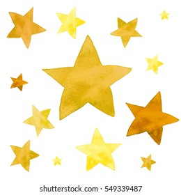 Isolated watercolor illustration of yellow and orange stars pattern set