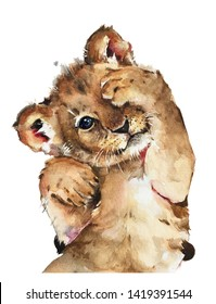 Isolated watercolour painting of baby lion on white background