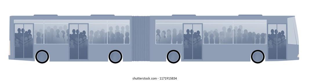 isolated white background istanbul metrobus or bus illustration