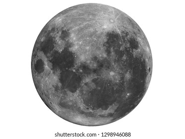 Isolated in white background a Super Moon upside down, taken with telescope in the dark space so far.