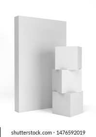 Isolated White Cubes With Board Wall. 3D render