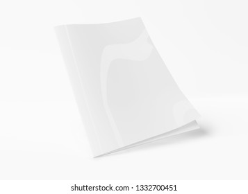 Isolated white magazine cover mockup on white background 3d rendering