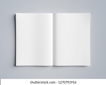 Isolated white open magazine mockup on grey background 3D rendering