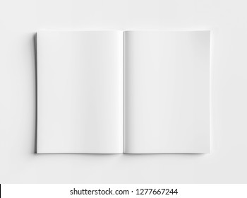 Isolated white open magazine mockup on white background 3D rendering