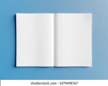 Isolated white open magazine mockup on blue background 3D rendering