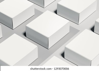 Isolated white realistic cardboard boxes on white background. 3d rendering.