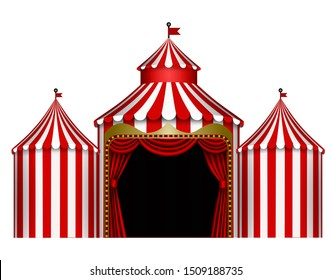 isolated white and red circus stage illustration