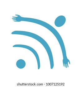 isolated wi fi symbol with flying human figure