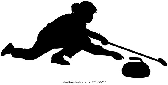 An isolated woman playing curling with stone and broom. Black sport icon.