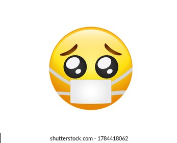 The isolated yellow face pity pleading begging eyes emoji icon with wearing mask