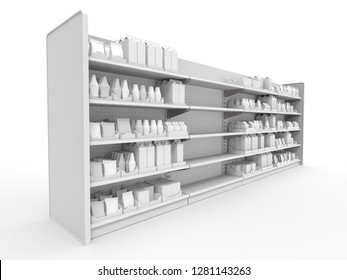 Isolater Mall Set Of Shelves With Product. View From Perspective. 3D rendering