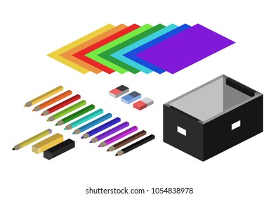 Isometric 1:2 illustration of office supplies, colorful pencils, papers and erasers isolated on a white background