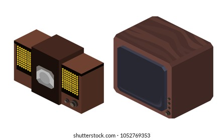 Isometric 1:2 illustration of two antique television sets, isolated on a white background