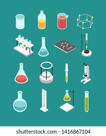 Isometric 3d chemical laboratory equipment. Chemistry attributes icons isolated. Chemistry research, equipment chemical and medicine illustration