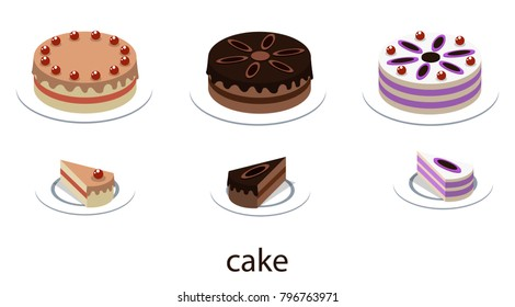 Isometric 3D illustration concept of a holiday cake with slices
