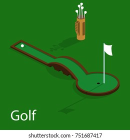 Isometric 3D illustration golf course with a ball and a golf bag