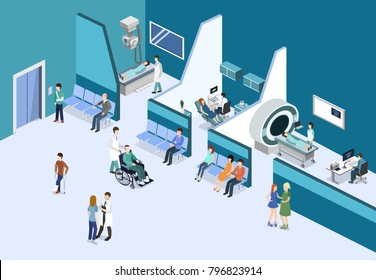 Isometric 3D illustration patients waiting for an elevator and waiting room for a doctor