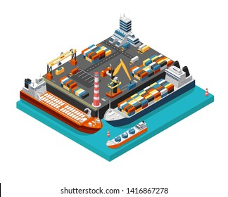 Isometric 3d seaport terminal with cargo ships, cranes and containers in harbor aerial view. Shipping industry concept. Transport terminal ship for unloading, export and storage illustration
