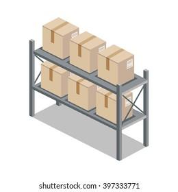 Isometric 3d shelf with cartoon box illustration