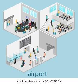 Isometric airport scenes. Flat 3D illustration.
