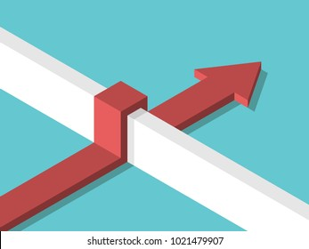 Isometric arrow overcoming above wall on turquoise blue background. Challenge, success, development and solution concept. Flat design
