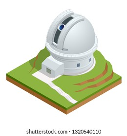 Isometric astronomical observatory dome. Astronomical telescope tube and cosmos.