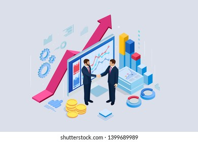 Isometric B2B sales method. Partners shaking hands. Successful entrepreneurs. Data and key performance indicators for business intelligence analytics