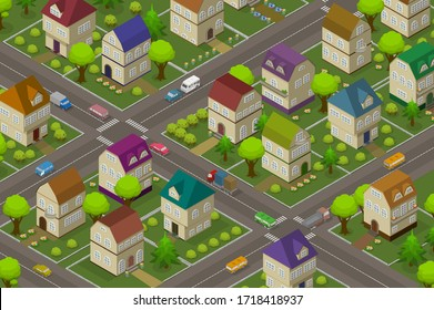 Isometric background with houses, cars, roads Raster version.