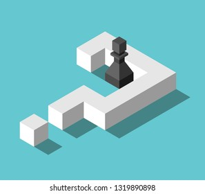 Isometric black chess pawn inside big white question mark on turquoise blue. Confusion, problem, decision and deadlock concept. Flat design