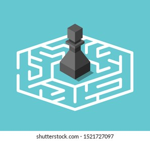 Isometric black chess pawn standing lost in centre of maze on turquoise blue background. Confusion, problem and mystery concept. Flat design. 3d illustration. Raster copy