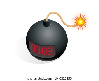 Isometric Bomb icon, illustration TNT time bomb explosive with digital countdown timer clock isolated on white background.