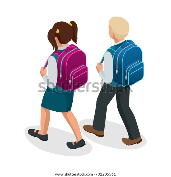 Isometric boy and girl back to school concept. Children go to school with their back packs and in school uniforms. Education. Happy to study. Flat illustration used for workflow layout, banner, game