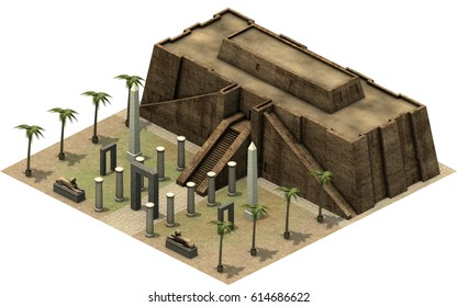 Isometric buildings of ancient Egypt, great temple. 3D rendering