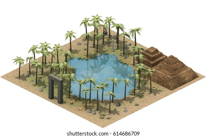 Isometric buildings of ancient Egypt, oasis and mastaba in the dessert. 3D rendering