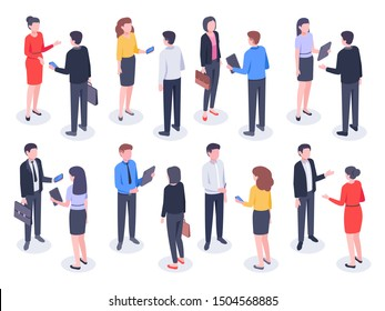 Isometric business people. Businessman team, businesswoman working collective and crowd of office worker persons. Professionals employees partnership meeting.  isolated illustration icons set