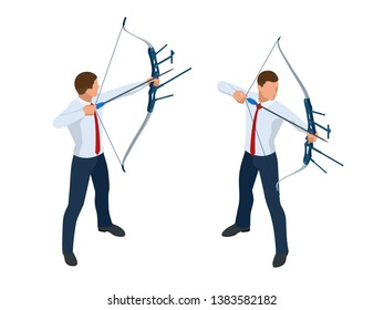 Isometric Businessman shooting a bow and arrow. Success. Arrow hit the center of the target. Business target achievement concept.