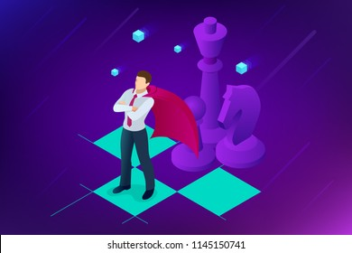 Isometric businessman standing on chess board. Strategy, management, leadership concept. Business strategy