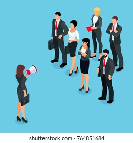 Isometric businesswoman with megaphone speaking before a group of people. Businesswoman with a loudspeaker makes a warning. 3d people in different poses listen to the speaker. Raster illustration.