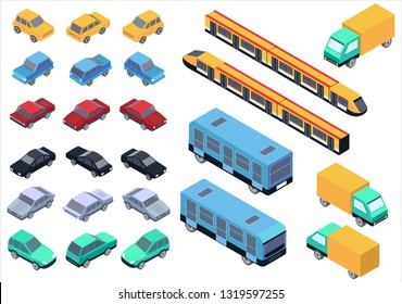 Isometric car, bus, truck and train set isolated.