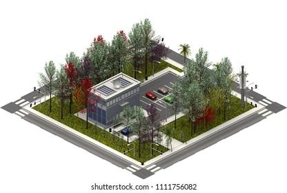 Isometric city buildings, modern building. 3D rendering