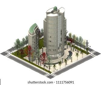 Isometric city buildings, modern skyscraper. 3D rendering