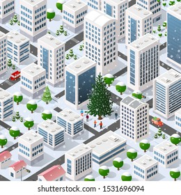 Isometric city landscape snow covered Christmas