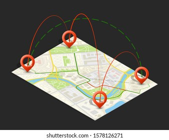Isometric city map business infographic navigation, flat isometry point markers schema, 3D simple city plan GPS navigation, final destination arrow paper city map. Route delivery check point graphic