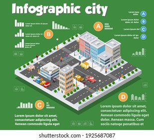 Isometric city map industry infographic set, 3D illustration