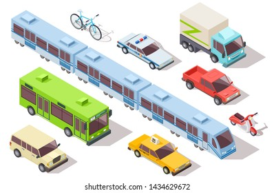 Isometric city public transport. Subway train, bus, ambulance, taxi and police car, truck, motorcycle, bike. 3d vehicles set. Illustration of city bus, automobile and urban tramway
