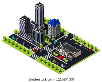 Isometric city quarter includes buildings, cinema, skyscraper, police department, crossroads and parking  illustration.