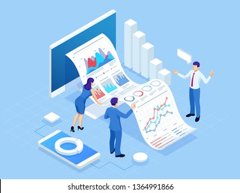 Isometric concept of business analysis, analytics, research, strategy statistic, planning, marketing, study of performance indicators Investment in securities, smart investment, strategic management