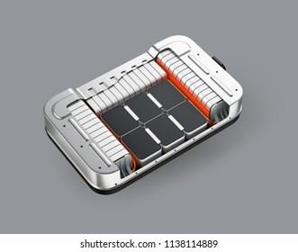 Isometric cutaway view of electric vehicle battery pack on gray background. 3D rendering image.
